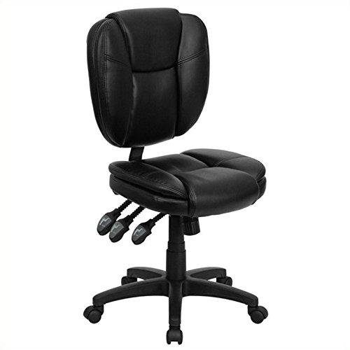 Flash Furniture Mid-Back Black Leather Multifunction Ergonomic Swivel Task Chair by Flash Furniture