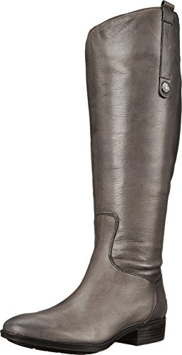 Calf Leather Large (Sam Edelman Women's Penny 2 Wide Calf Leather Riding Boot Grey Frost 8 W US W)