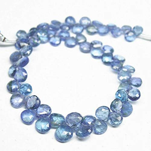 GemAbyss Beads Gemstone Natural Tanzanite Faceted Heart Drop Briolette Gemstone Loose Craft Beads Strand 8 Inch Long 5mm 7mm -