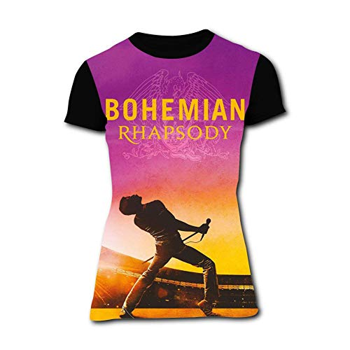 Price comparison product image Ingqkuhua Freddie Mercury Bohemian Rhapsody Short Sleeve Women's T-Shirt Black