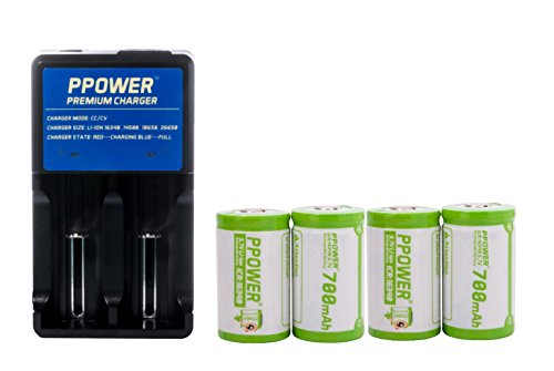 Ppower Pbe 4 packs of 700mAh 3.7v Cr123a 16340 Li-ion Rechargeable Battery + 2 Slots Li-ion charger (PI2) + Battery boxes, CE/UL Certified for Arlo Camera, Reolink Argus, Keen, etc