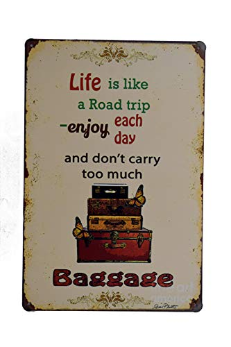 (H&K Too Much Baggage Funny Quote Retro Metal Tin Sign Posters Wall Decor 12X8-Inch )