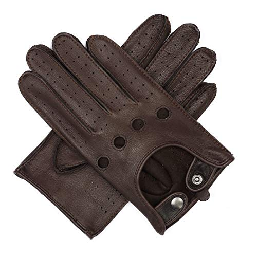 Harssidanzar Mens Leather Driving Gloves Deerskin Unlined, Brown, M