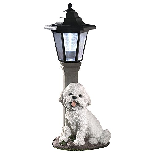 Bits and Pieces-Solar Bichon Lantern-Solar Powered Garden Lantern - Resin Dog Sculpture with LED Light