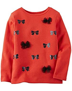 Little Girls' Long Sleeve Tee Top Bows (5T, Red)