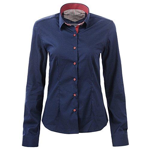 Glostory Women's Long Sleeve Polka Dot Blouses Basic Button Down Shirts Tops 1251 (L, Dark blue color)