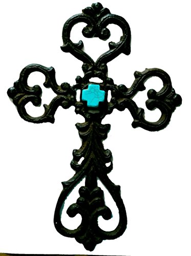 Ornate Scrolled Heart and Turquoise Stone Cross