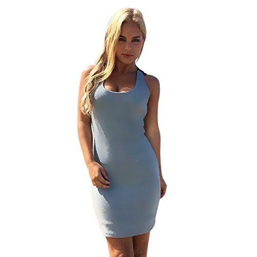 Longra Donna Vestito in cotone elasticizzato con cuciture in pizzo sul collo Blu