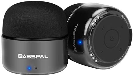 BassPal Moveable Bluetooth Audio system, Small True Wi-fi Stereo (TWS) Speaker with Radio, IPX5 Waterproof, HD Sound & Enhanced Bass, Mini Pocket Dimension for Dwelling Journey Bathe Pool Seaside Outside-2 Pack