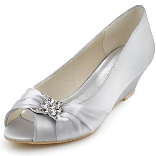 ElegantPark WP1403 Women Peep Toe Wedges Rhinestones Mid Heel Pumps Satin Evening Wedding Shoes Silver US 11