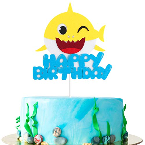 MALLMALL6 Shark Birthday Cake Topper Little Shark Inspired Cake Topper Cartoon Shark Theme Party Supplies First Birthday Cake Topper Cake -