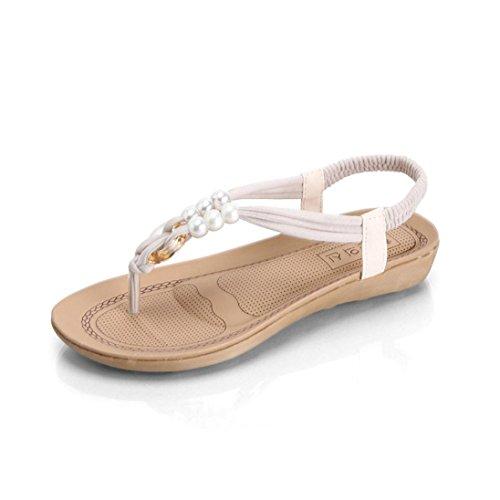 Winwintom Mujeres plana de Zapatos sandalias peep toe con cuentas de Bohemia ocio dama sandalias zapatos Blanco