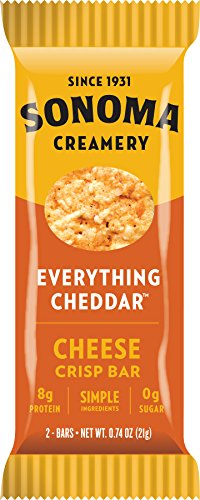 Sonoma Creamery Cheese Crisp Bars - Everything Cheddar, 8 Two-Bar Packs, (Savory Snack Bars with 0g Sugar & 8g Protein, Low Carb, Gluten Free) (Cheddar Garlic Cheese)