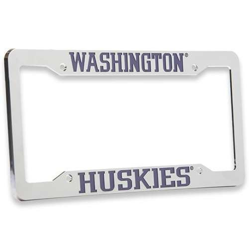 Logo License Products Plate - Logo Products Washington Huskies Chrome Plastic License Plate Frame