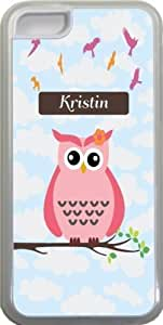 """NADIA Magic Diy """"Kristin"""" Name - Cute Pink Owl on Branch with Personalized Name Design iPhone 5c case cover for WbkqOii6nYW Apple iPhone 5c sell on Zeng case cover"""