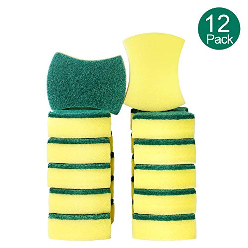 esafio 12 Pack Non-Scratch Scrub Sponge, Super Absorbent Multi-Use Cleaning Sponges for Kitchen, Dishes, Bathroom, Car Wash