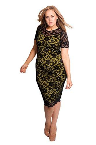 Nouvelle® Übergröße Kontrast Spitze Midi Kleid Grün 46