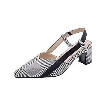 BalaMasa Womens ASL06339 Huarache Dress Tuxedo Gray Pu Block Heels - 2 UK (Lable:33)