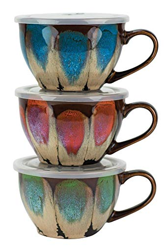 Petals Souper Mug w/Lid 22 Oz Ast/3