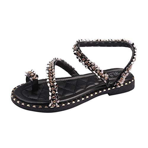 f06ac39df AOJIAN Shoes Womens Sandals Summer Crystal Bling Beach Flip Flop Slide  Slipper Clog Mule Black