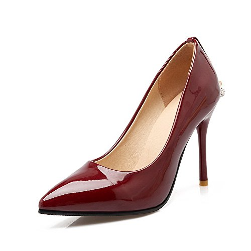 Tire Pointu Femme Légeres Couleur Verni Chaussures Agoolar Rouge Vineux Stylet Unie dtEpqfx6