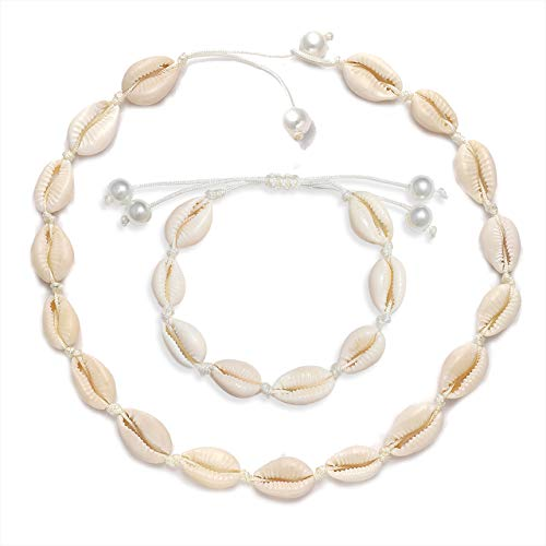 MOLOCH Natural Shell Necklaces Boho Handmade Cowrie Shell Choker Necklace Adjustable Beach Conch Jewelry for Women Girls (Bracelet Necklace) ()