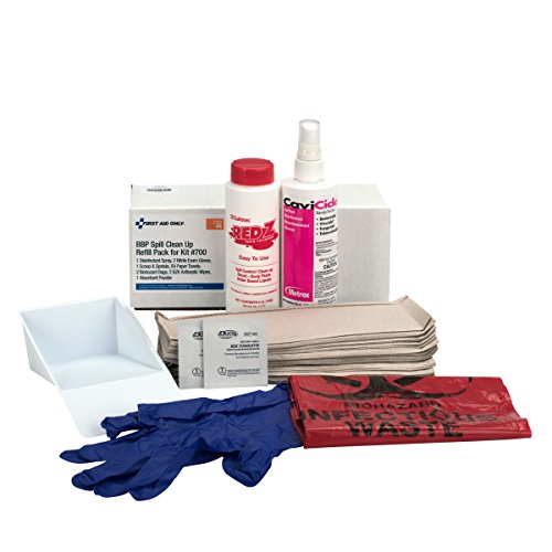 Pac-Kit by First Aid Only 00702 59 Piece Bloodborne Spill Clean-up Refill Kit, For Large Industrial BBP Cabinet