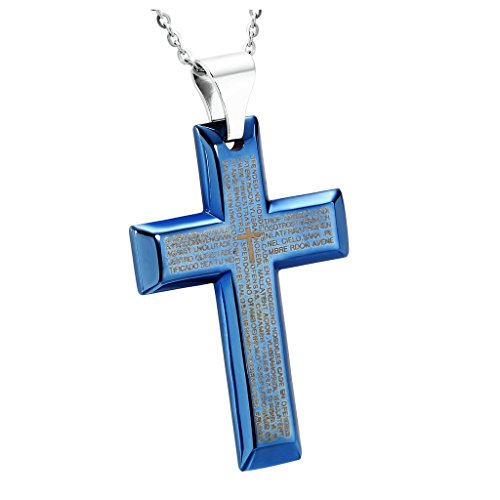 Prayer In C Costume (Aooaz Men's Stainless Steel Pendant Necklace, Engraved Bible Blue Biker Punk Gothic Christ Cross Pendant)