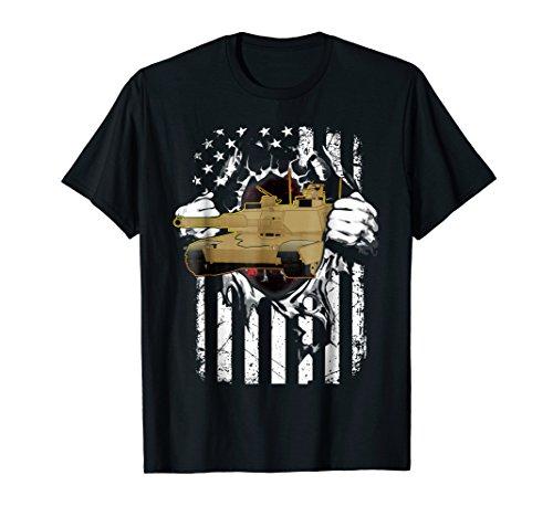 M1 Abrams Tank and American Flag Veterans T-Shirt ()