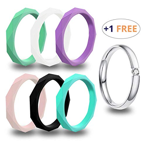 USEVEN Silicone Wedding Ring for Women, Thin & Antibacterial Rubber Band, Comfortable fit, Colorful, Affordable, Skin Safe