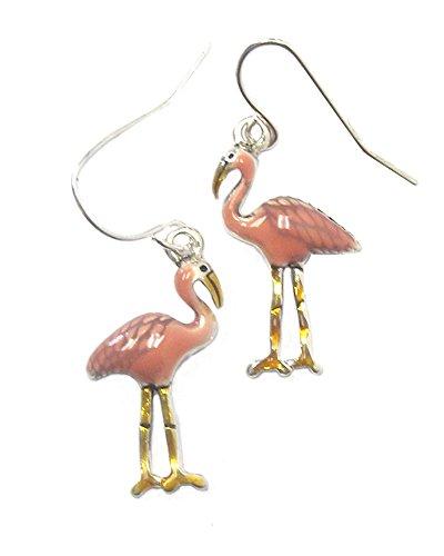 Enameled Pierced Earrings - Dainty Enameled Pink Flamingo Dangle Drop Earrings on Silver-Tone, Pierced, 1 ¼ Inches Long