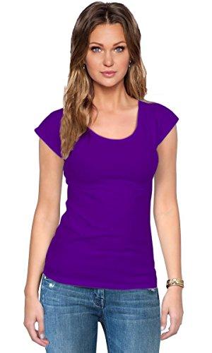 Women's Everyday Basic Cotton Short Sleeve Scoop Neck