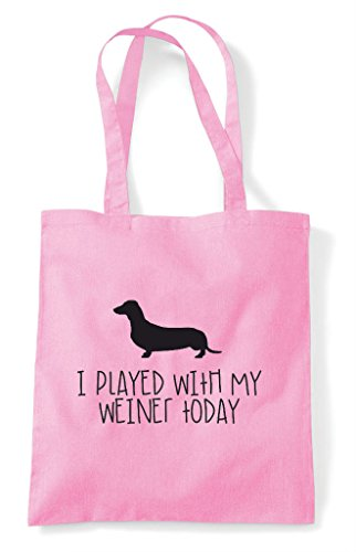 Bag Today Light I Pink Dog Played Parody Weiner Shopper Tote Funny My Sausage With qxTx7vB