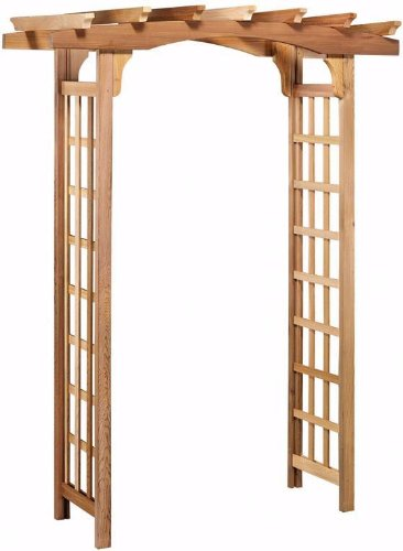 Arboria Astoria Garden Arbor Cedar Wood Over 7ft High Pergola Design with Lattice Panels ()