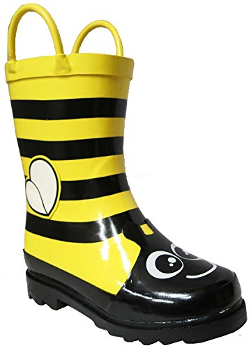 Little Girls Yellow Bumble Bee Flower Rain Boots - Size 13 (Little Kid)