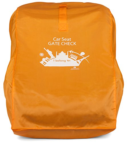 Gate Check Bag for Car Seats, citron orange. Durable, roomy travel bag protects your car seat from dirt and grime. By Modern Momma. Covers Britax, Chicco, Eddie Bauer, Evenflo, etc.
