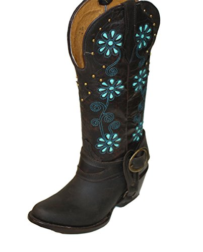 toe Moca Rodeo Boots around Genuine Cowgirl Cowboy Cow Leather Heel Western Shoes Women TP7zq
