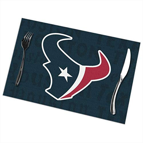 - Marrytiny Design Colourful Placemats Heat Resistant Table Mats Houston Texans Football Team 100% Polyester Dining Table Set of 6 Kitchen Coffee Mat 12 x 18 Inch