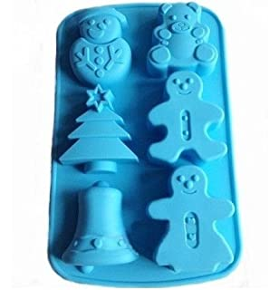 allforhome 6 cavities christmas bell sknowman tree silicone cake baking mold cake pan muffin cups handmade