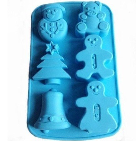 Allforhome(TM) 6 Cavities Christmas Bell Sknowman Tree Silicone Cupcake Baking Mold Soap Molds Polymer Clay Muffin Cups Craft DIY mold]()