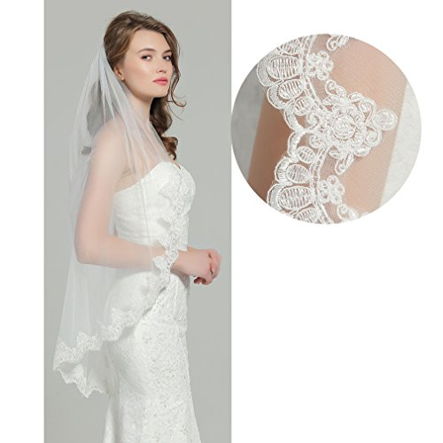 Wedding Bridal Veil with Comb 1 Tier Lace Applique Edge Fingertip Length 41'' V82 White by BEAUTELICATE