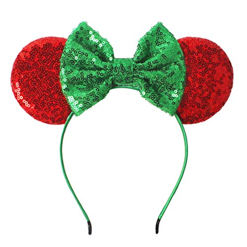 YanJie Christmas Sequin Mouse Ears - Glitter Hair Accessories Party Favor Decoration Cosplay Costume for Children & Adults (Green) -