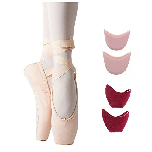 Womens Canvas Professional Full Sole Ballet Dance Pointe Flats with Toe Pad 5 M