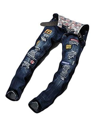 Hipster bob Men's Stitching Badges Washed Jeans
