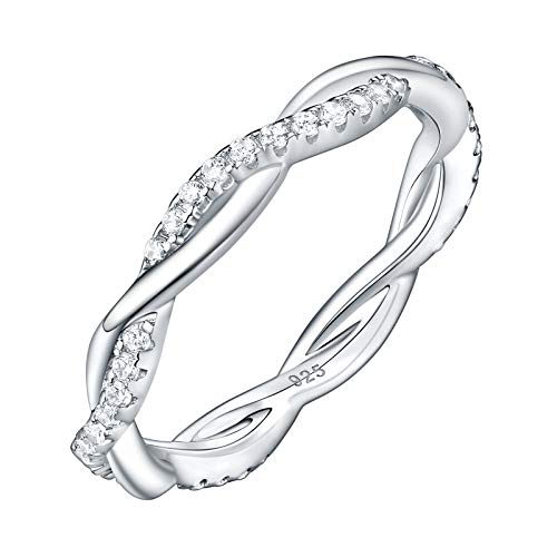 Newshe Twisted Wedding Band Eternity Ring for Women Cubic Zirconia AAA 925 Sterling Silver Size 8