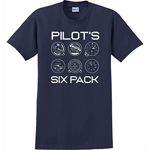 Tee Drop Mens Birthday Boy Shirt 6 Airplane Cockpit Flight Instruments Tee Navy XL ()