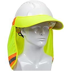 ez-cool 396–800-yel Hi-Vis sombrero duro cuello parasol con visera, tamaño grande, Amarillo