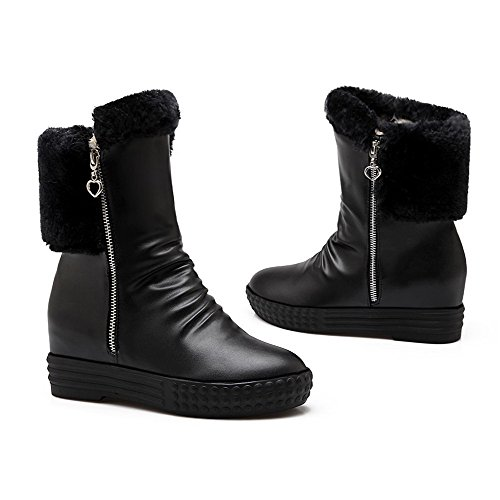 AgooLar Women's Kitten-Heels Soft Material Low-top Solid Zipper Boots Black rLo1qN