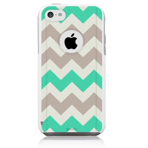 iPhone 5c Case White Chevron Grey Mint Green [Dual Layered Hybrid] Protective Commuter Case for iPhone 5c White Case by Unnito
