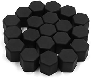 uxcell タイヤスクリューキャップ 17 x 19mm ブラック 自動車 ホイールタイヤ ハブ ネジ ボルトナット キャップ カバー 20個入り